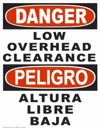 22853 Danger Low Overhead Clearance (Vertical Bilingual)