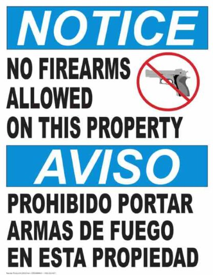 22852 Notice No Firearms Allowed On Property (Bilingual)