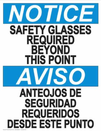 22828 Notice Glasses Required Beyond This Point Bilingual