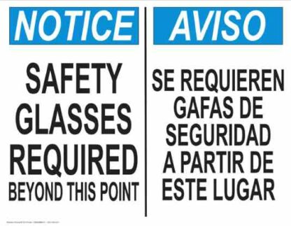 22827 Notice Glasses Required Beyond This Point Bilingual