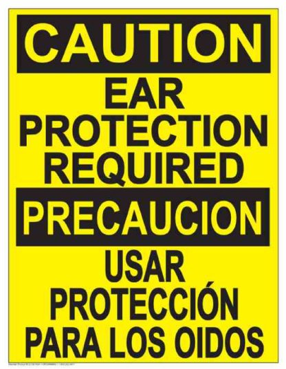22833 Caution Ear Protection Required (Vertical Bilingual)