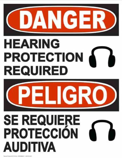 22832 Danger Hearing Protection Required Bilingual Phones