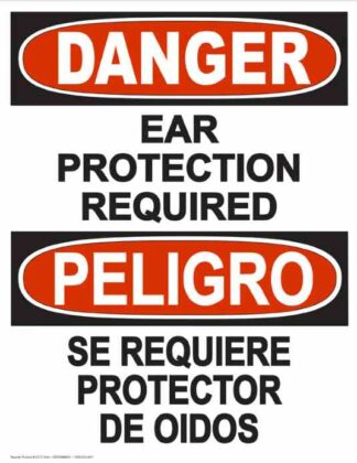 22831 Danger Ear Protection Required (Vertical Bilingual)