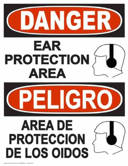 22830 Danger Ear Protection Area (Vertical Bilingual)