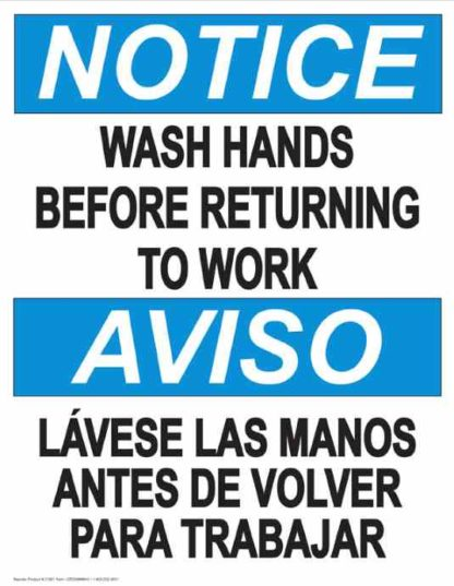 22807 Notice Wash Hands Before Returning to Work Bilingual