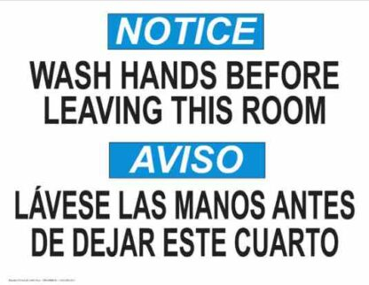 22806 Notice Wash Hands Before Leaving Room Bilingual