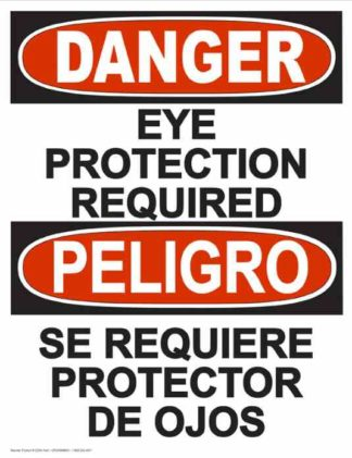 22820 Danger Eye Protection Required (Vertical Bilingual)