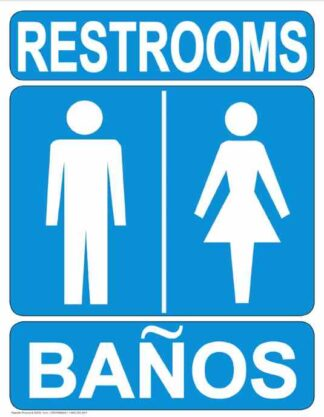 22818 Restrooms (Vertical Bilingual White On Blue)