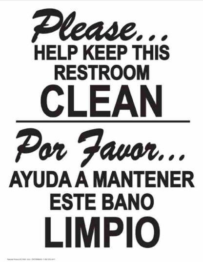 22813 Please Help Keep This Restroom Clean Bilingual