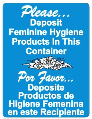 22811 Deposit Feminine Products In This Container Bilingual