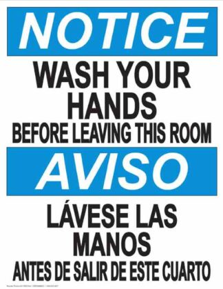 22808 Notice Wash Hands Before Leaving Room Bilingual
