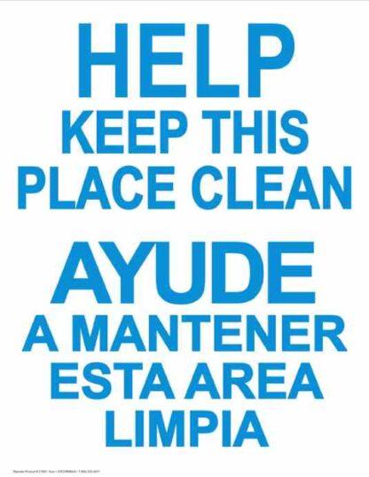 22799 Help Keep This Place Clean Vertical Bilingual (Blue)