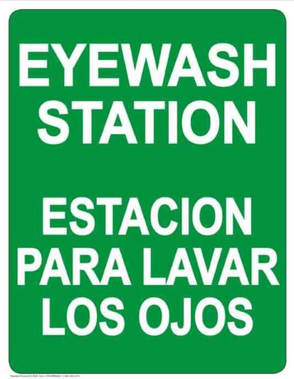 22794 Eye Wash Station Bilingual Vertical White on Green