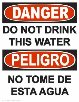 22793 Danger Do Not Drink This Water Vertical Bilingual