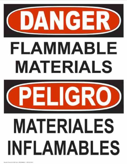 22790 Danger Flammable Materials Bilingual Vertical