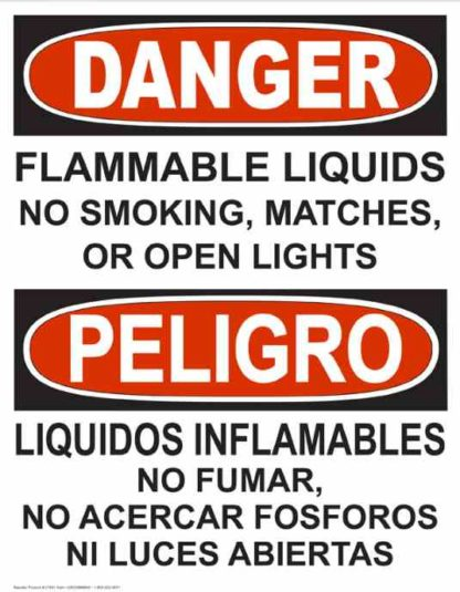 22789 Danger Flammable Liquids No Smoking, Bilingual