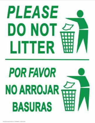 22803 Please Do Not Litter Vertical Bilingual