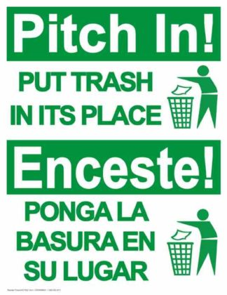 22802 Pitch In! Put Trash In It's Place Bilingual Trash Man