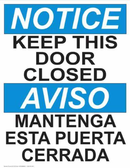 22781 Notice Keep This Door Closed (Vertical Bilingual)