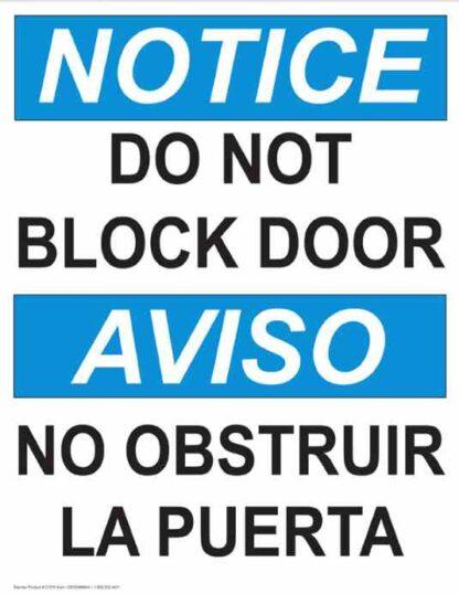 22780 Notice Do Not Block Door (Vertical Bilingual)