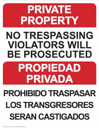 22776 Private Property No Trespassing Bilingual