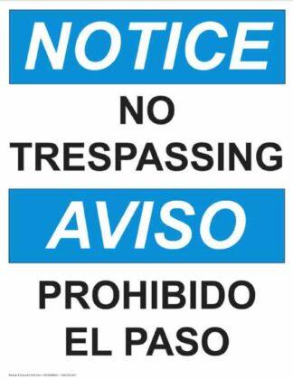22774 Notice No Trespassing Vertical Bilingual