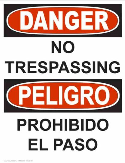 22773 Danger No Trespassing Vertical Bilingual