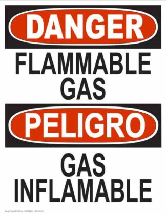 22788 Danger Flammable Gas Bilingual Vertical