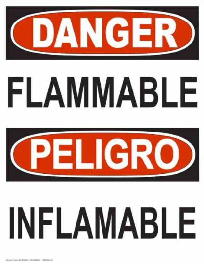 22787 Danger Flammable Vertical Bilingual