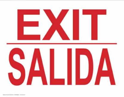 22784 Exit Bilingual Red On White