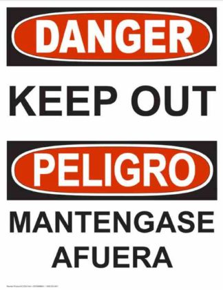 22772 Danger Keep Out Vertical Bilingual