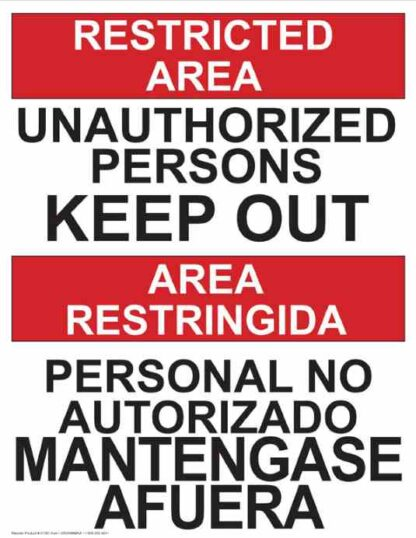 22762 Restricted Area Persons Keep Out Vertical Bilingual