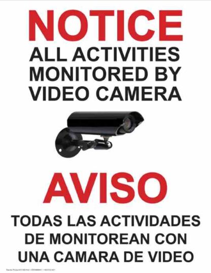 22770 Notice Activities Monitored By Video Camera Bilingual