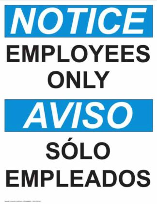 22767 Notice Employees Only Vertical Bilingual