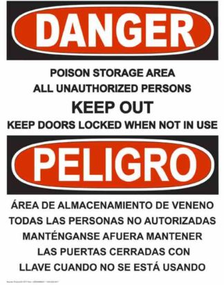 22747 Danger Poison Storage Area Bilingual Vertical