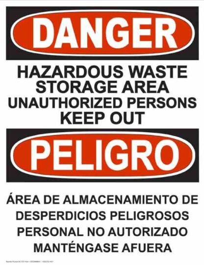 22751 Danger Hazardous Waste Storage Vertical Bilingual