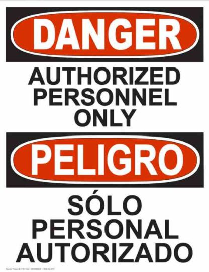 22756 Danger Authorized Personnel Only Vertical Bilingual