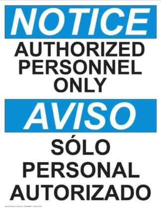22755 Notice Authorized Personnel Only Vertical Bilingual