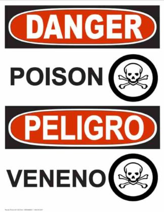 22753 Danger Poison with Poison Symbols Vertical Bilingual