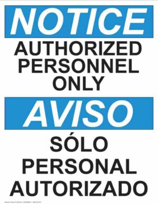 21360 Notice Authorized Personnel Only Vertical Bilingual