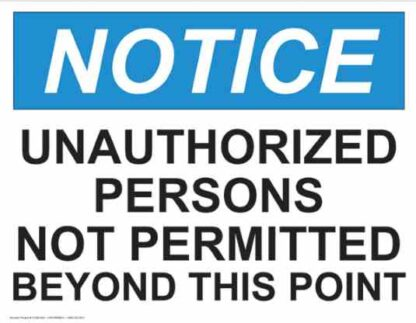 21356 Notice Unauthorized Persons Not Permitted