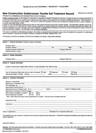 2581 NPMA-99b Termite Soil Treatment Record