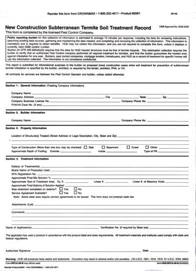 2581 NPMA-99b Termite Soil Treatment Record