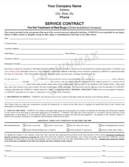 2532 Bed Bug Service Agreement