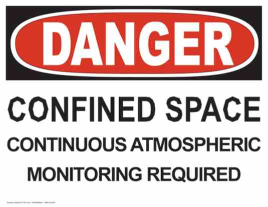 21757 - Danger - Confined Space - Continuous Atmospheric Monitoring Required