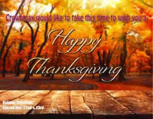 Thanksgiving Schedule 2018