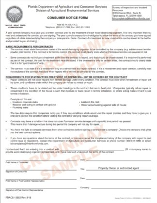 Florida Consumer Notice Form