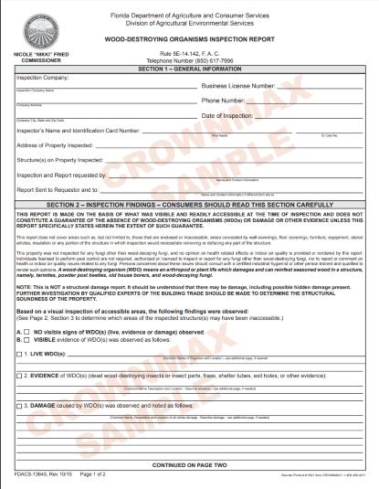 7021 Florida Wood Destroying Organisms Inspection Report