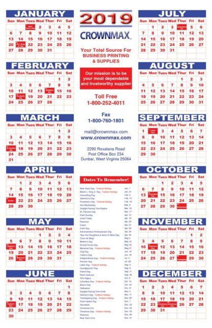 0089 Large Calendar 2019