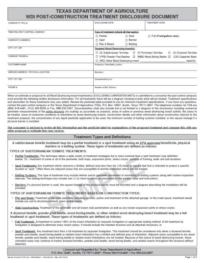 7079 Texas WDI Post Construction Disclosure